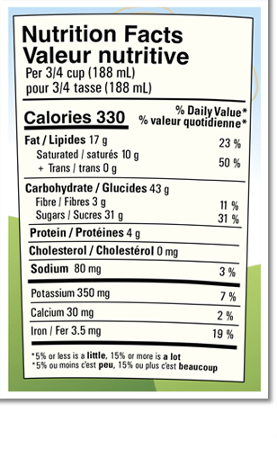 Nutrition Facts Label for Chocolate Fudge Brownie Non-Dairy