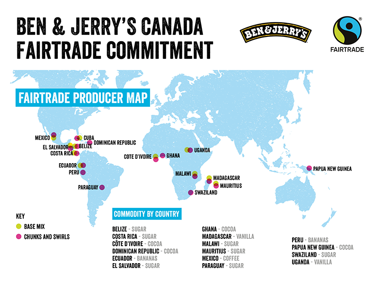 A map of where our Fairtrade ingredients come from.